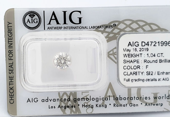 Diamante - 1.04 ct - Brillante - F - SI2, NO RESERVE PRICE