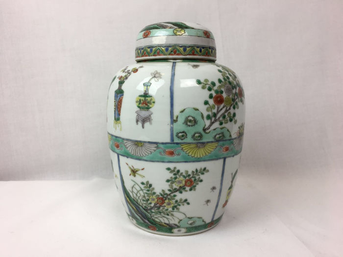 wu cai vase (1) - Famille verte - Porcelain - Flowers - Double ring - China - end of the 19th century