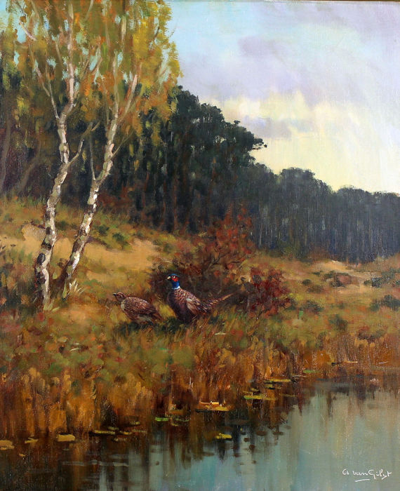 Arnout van Gilst (1898 - 1982) - Landscape with pheasants on the water,