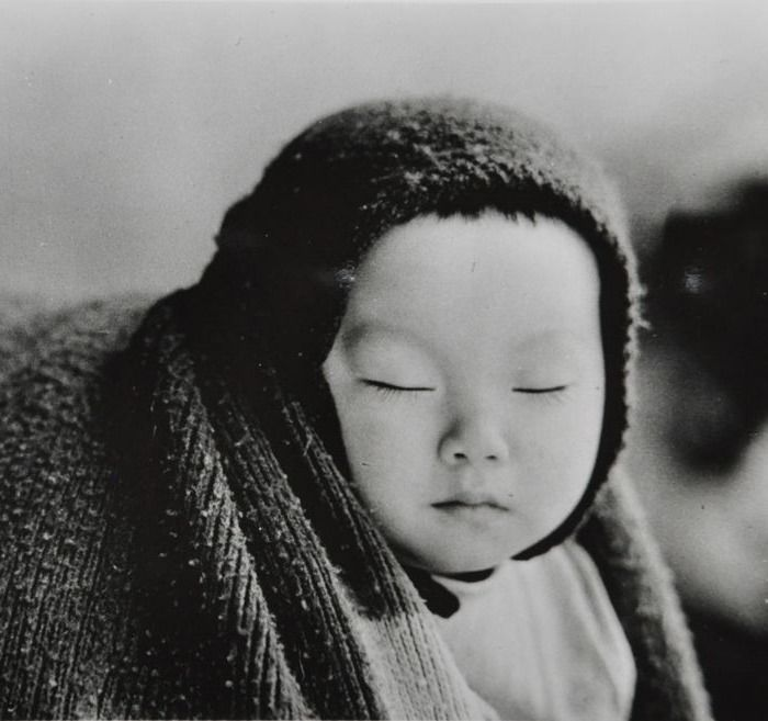 Eiju Otaki (1932-) - 'Content and quiet on mother's back', Japan, c.1950's