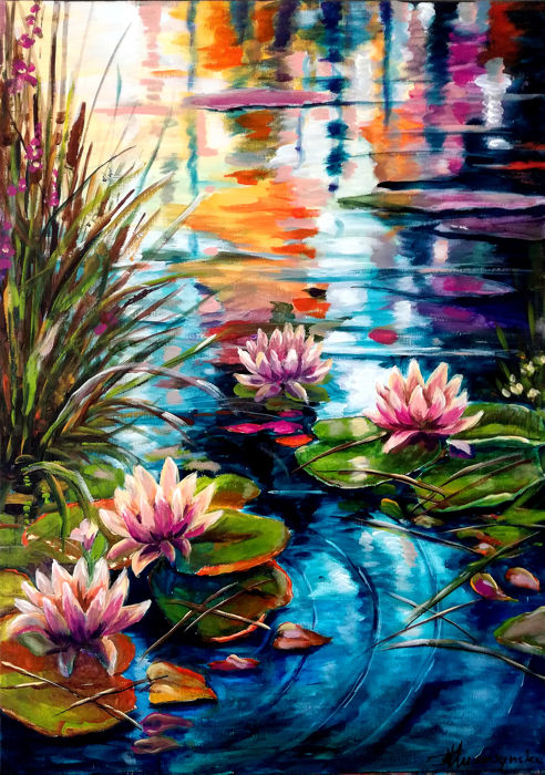 Teresa Kluszczyńska - Water lilies in the sunshine