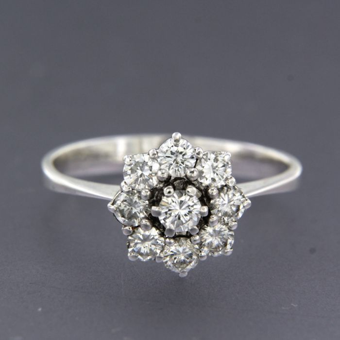14 kt. White gold - Ring - 0.94 ct Diamond