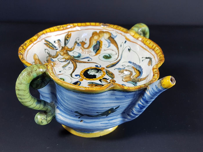 Curious Bowl Pourer Faience Italian Nineteenth Century Unusual - Earthenware