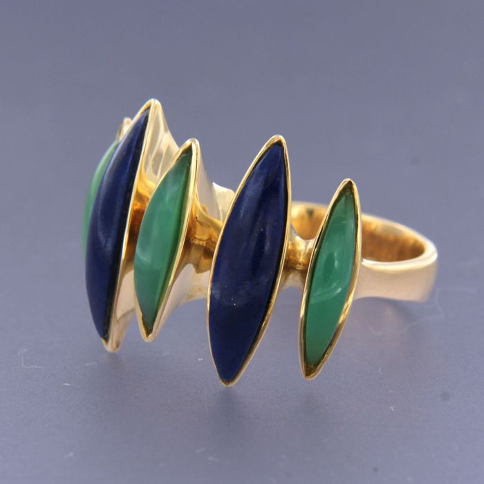 LUTH art design - 18 carats Or jaune - Bague lapis-lazuli et jade