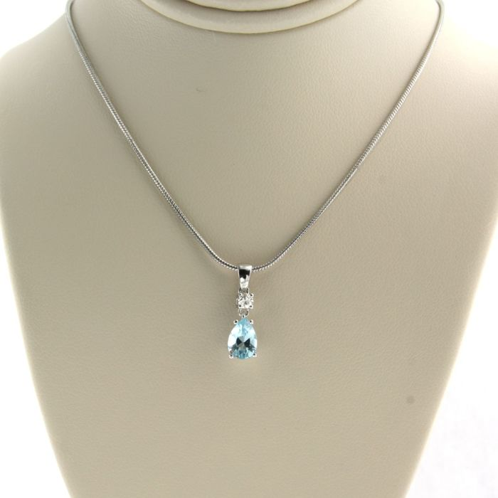 14 kt. White gold - Necklace with pendant - 0.07 ct Diamond - Topaz