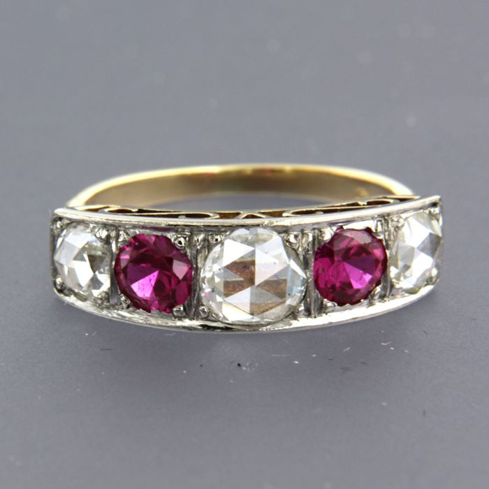 14k geel goud met zilver Z2 Silver, Yellow gold - Ring - 1.20 ct Diamond - synthetic ruby nose