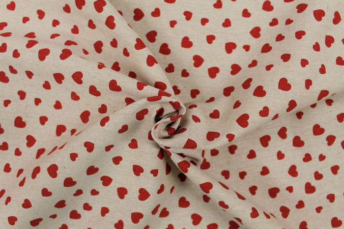 5.50 MT !!!!!! Panama raw panama fabric with love pattern - cotton blend, textile, canvas, stoff, tissu, texture
