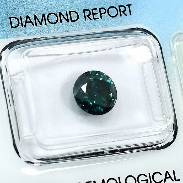 Diamant - 1.80 ct - Brillant - Fancy Deep Bluish Green - I2