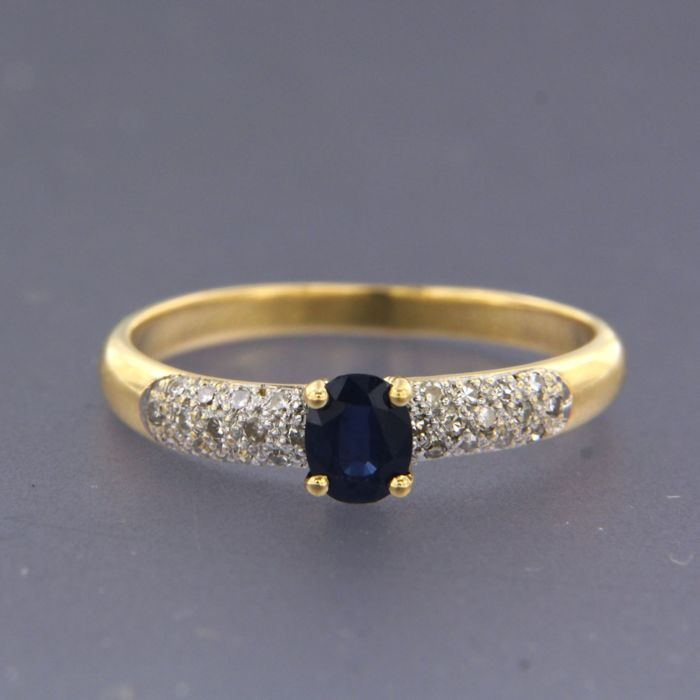 18 kt. White gold, Yellow gold - Ring - 0.50 ct Sapphire - Diamond, Sapphire