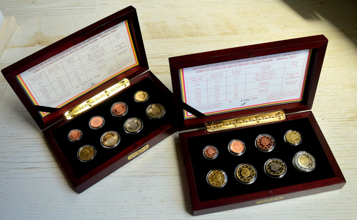 Belgien - from 0.01 to 2 euro Euro Coins Set 2004/2011 in wooden box with certificate (2 sets)