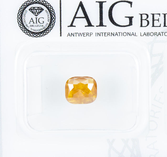 Diamante - 0.86 ct - Natural Fancy INTENSE Orangy Yellow - I3  *NO RESERVE*