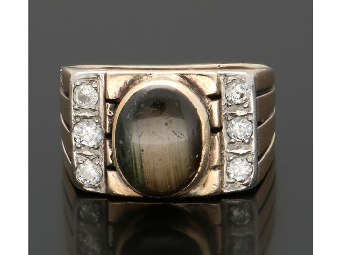 14 kt Gelbgold - Ring - 0.18 ct Chrysoberyll - Diamant