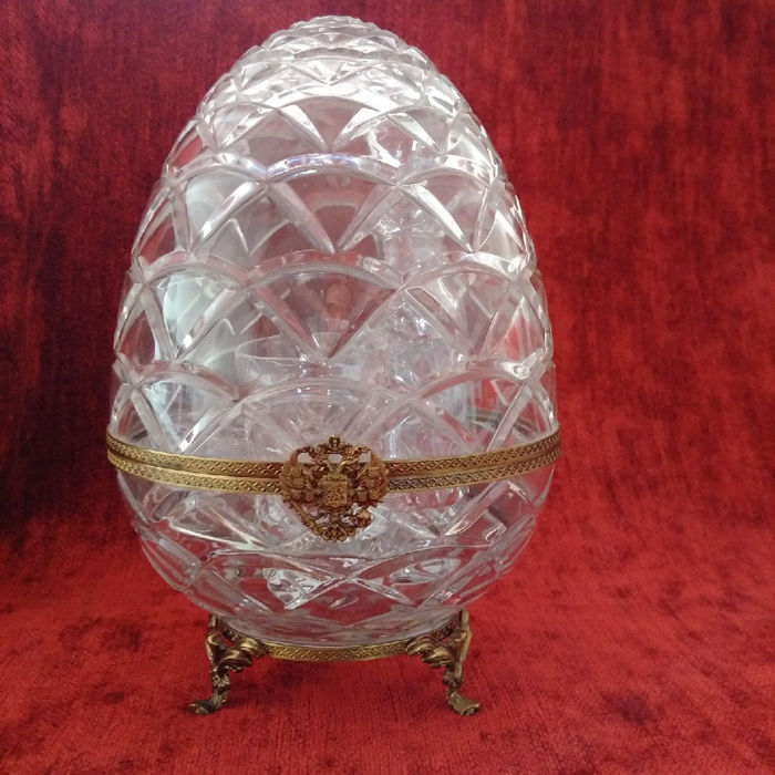 Fabergé - Caviar service (1) - Bronze (gilt/silvered/patinated/cold painted), Crystal