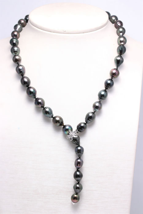 NO RESERVE PRICE - 14 kt. White Gold - 9x11mm Tahitian Pearls - Necklace - 0.03 ct
