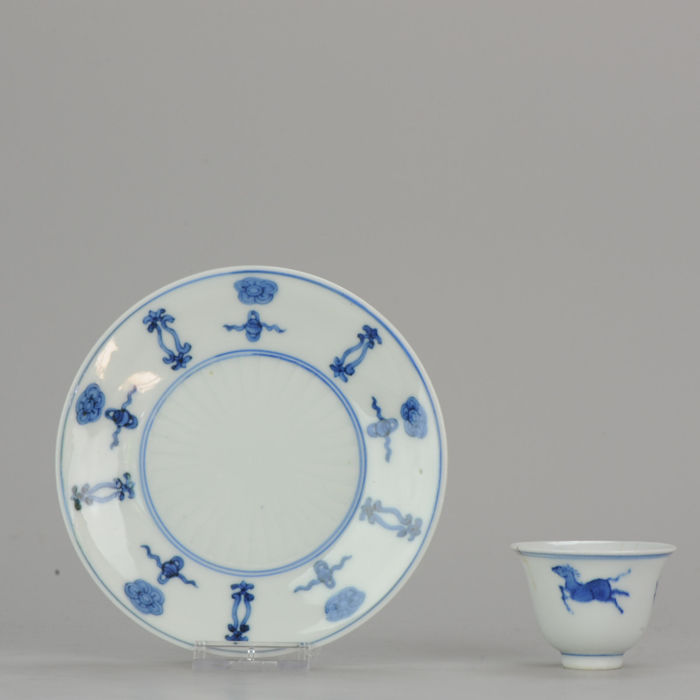 Bowl, Saucer (2) - Blue and white - Porcelain - Transitional Horse Tea Bowl & Lovely buddhist Plate - China - 17th and 19th century