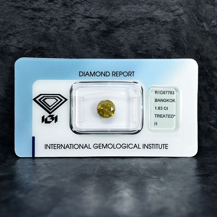 Diamant - 1.63 ct - Brillant - Fancy Intense Yellow - I1