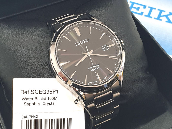 """Seiko - """" NO RESERVE PRICE """" Classic - Stainless Steel - Date - SGEG95P1 - Sapphire Crystal - Heren - 2011-heden"""