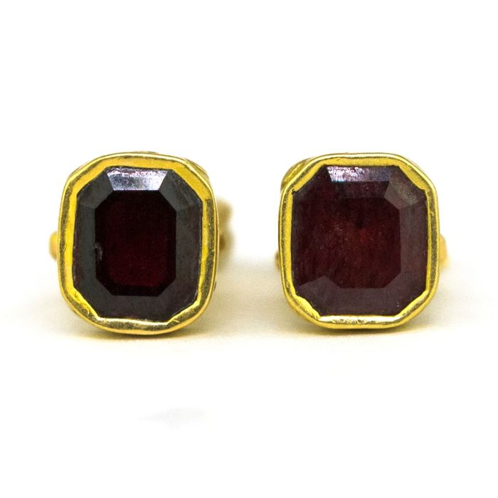 Authentic Antique - 18 kt. Yellow gold - Cufflinks Red Tourmaline