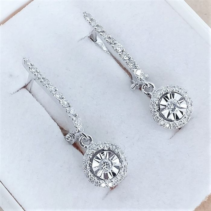 14 kt. White gold - Earrings - 0.42 ct Diamond