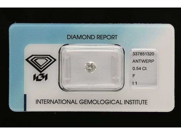 1 pcs Diamant - 0.54 ct - Briljant - F - I1 *** No Reserve***
