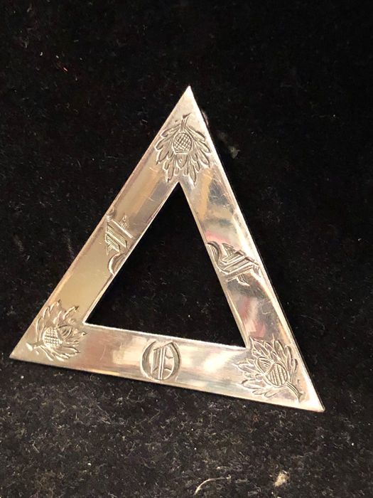 Royal Arch of the Ancient order of Druids - Grote Zeldzame Solid Silver DRUIDIC Masonic triangle Hallmarked pendant - .925 zilver