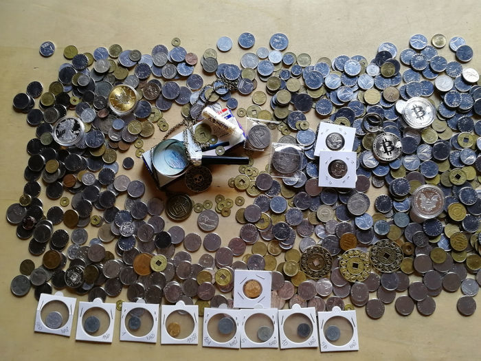 Welt - Lot of various coins + Nazi coins + Accessories + Medals  (3745 grams)