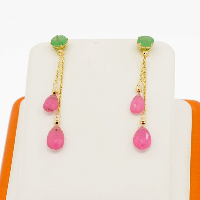 14 kt. Yellow gold - Earrings Emerald - Ruby