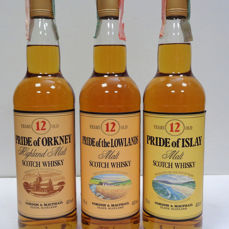 Pride of Islay - Pride of Orkney - Pride of the Lowlands Malt Scotch Whisky - Gordon & McPhail - b. 1990/00s - 70 cl - 3 flaschen