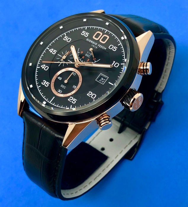 Giorgio Fedon 1919 - Chronograph Vintage VII Rose Gold PVD Black Leather Strap  - GFBL004 - Homme - Brand New