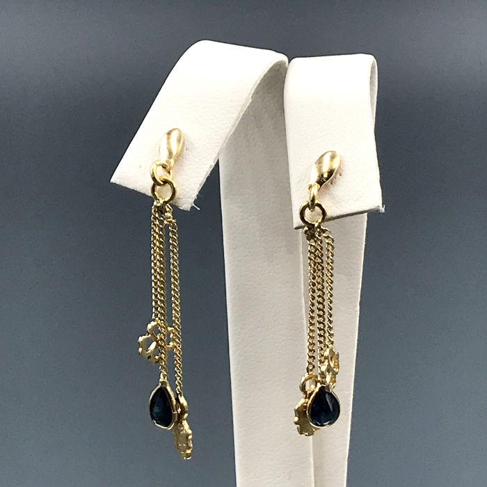 18 kt. Yellow gold - Earrings - 0.60 ct Sapphire