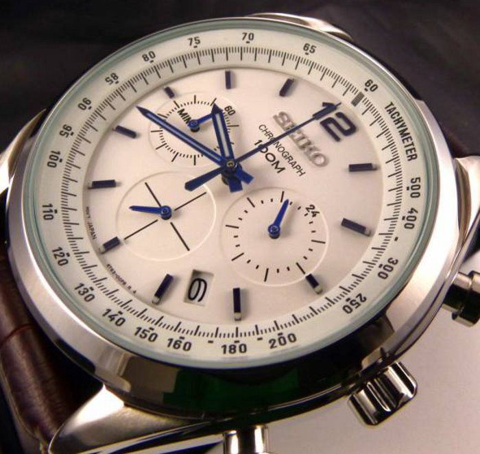 "Seiko - Chronograph Tachymeter 100M Leather  - ""NO RESERVE PRICE"" - Uomo - 2018"