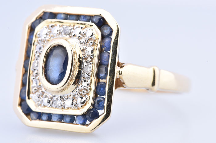 18 kt. Yellow gold - Ring - 0.34 ct Sapphire - Diamond
