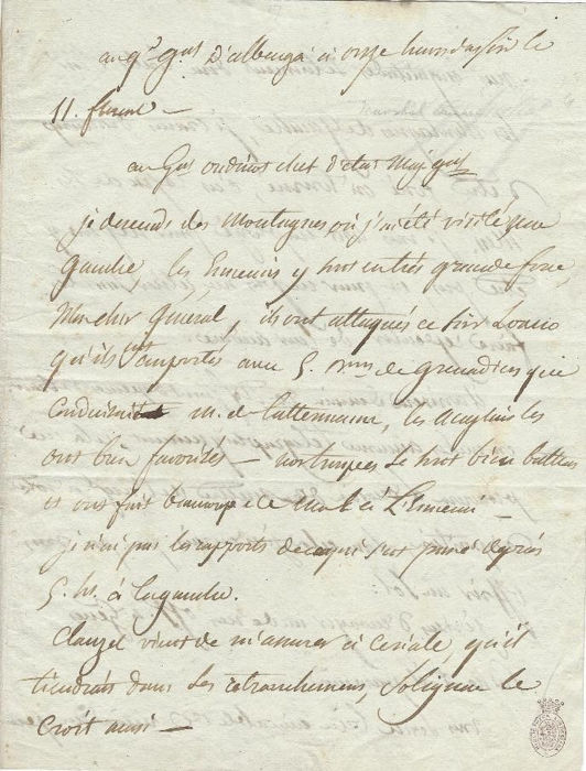 Louis-Gabriel Suchet (future Marshal) - Autograph; Signed letter to the General (and future Marshal) Oudinot, from Italie - 1800