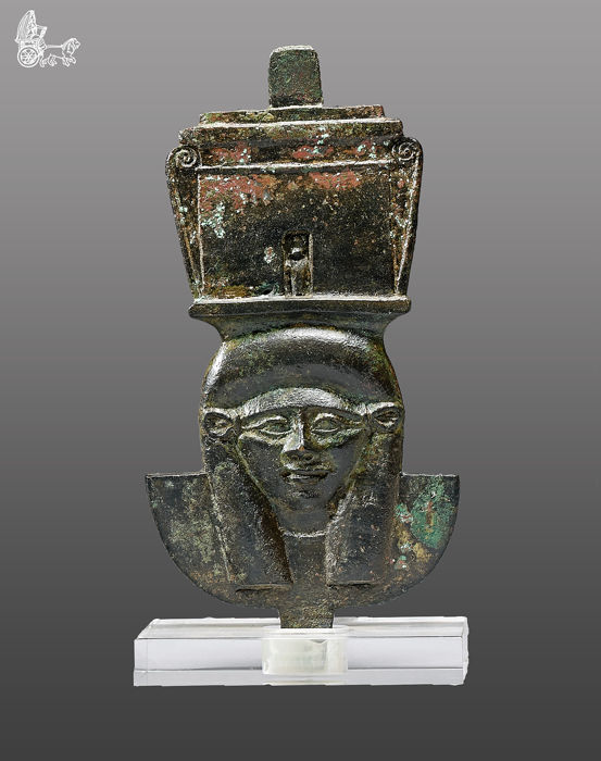 Ancient Egyptian Bronze Head of the Goddess Hathor (part of a furniture decoration)