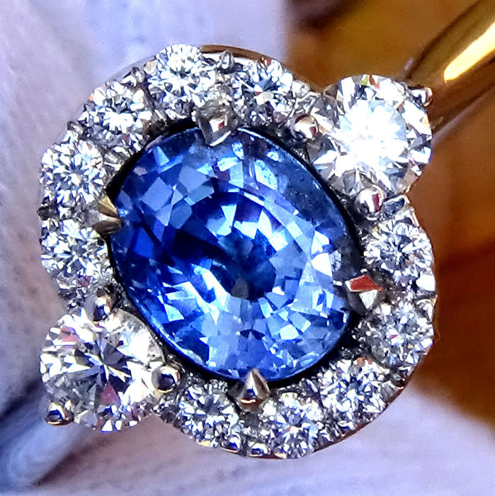 18 carats Or - Bague Bleu saphire - Diamant, Saphir