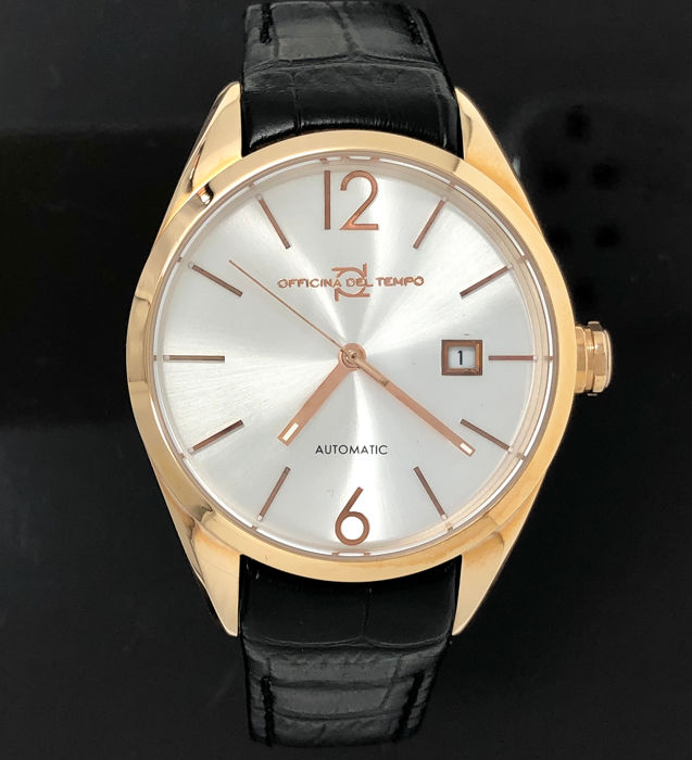 """Officina del Tempo - Wall Street Automatic Rose Gold Stainless Steel Black Leather Strap p - OT1037 """"NO RESERVE PRICE"""" - Herren - BRAND NEW"""