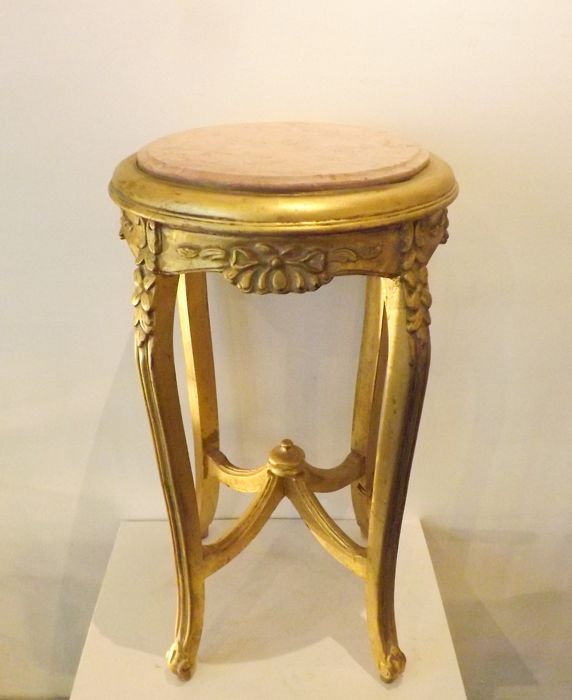 Gilt pedestal inlaid with marble - Louis XVI Style - Marble, Wood- Oak