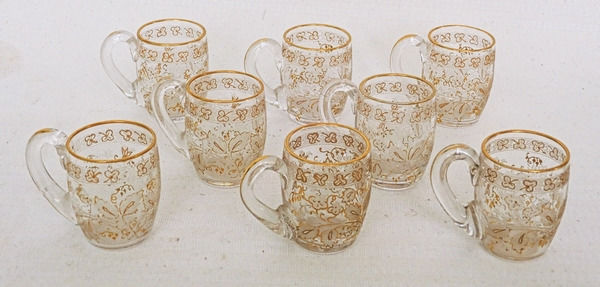 Baccarat - series of 8 cups liqueur glasses gilded with fine gold - Art Nouveau - Crystal