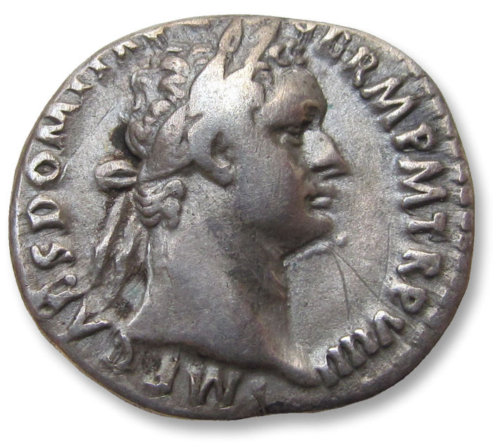 Empire romain - AR denarius, Domitian / Domitianus. Rome 90 A.D. - Minerva left, shield at feet - Argent
