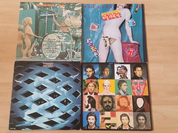 Woodstock II, the Who, Rolling Stones - Multiple artists - Woodstock II, Under Cover, Tommy, Face Dances - Multiple titles - 2xLP Album (double album), LP's - 1983/1971