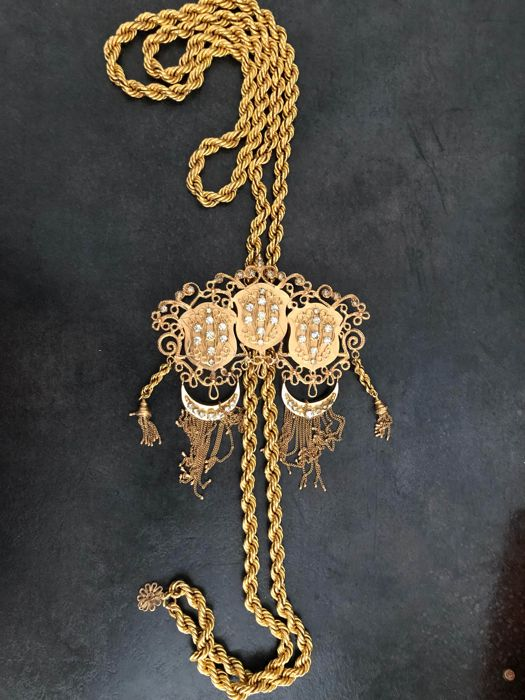 Vintage  - 18 kt. Yellow gold - Triple heads whip