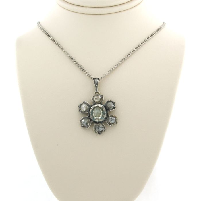925 Silver - Necklace with pendant - 1.50 ct Diamond