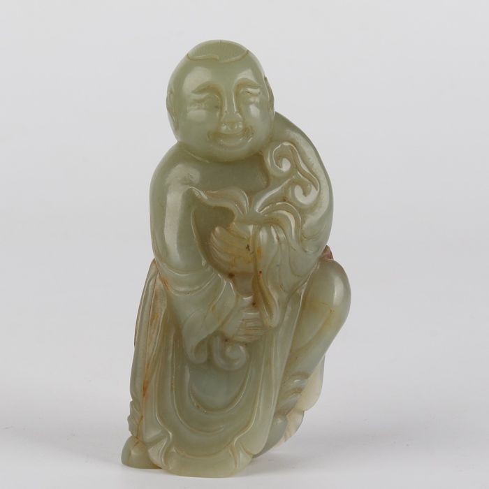 Nephrite Jade carved Ming style figure - Nephrite jade - China - 20thc
