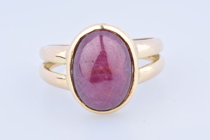 18 kt. Yellow gold - Ring - 5.50 ct Amethyst