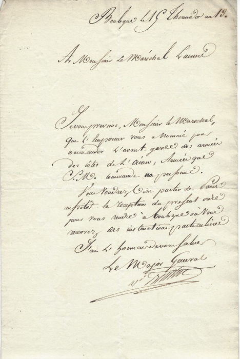 Marshal Berthier - Autograph; Signed letter to the Marshal Lannes from Camps de Boulogne - 1805