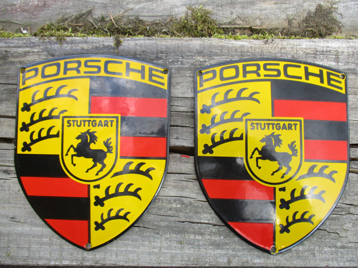 Emblem - 2x porcelain enamel [150/120mm] - PORSCHE - made by Pyroemail  - 1998