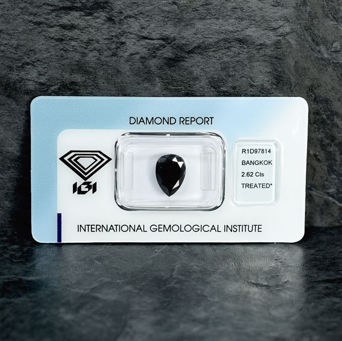 Diamant - 2.62 ct - Birne - Black - N/A