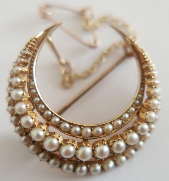 15 kt. Gold, Natural pearl, Yellow gold - Brooch Pearl