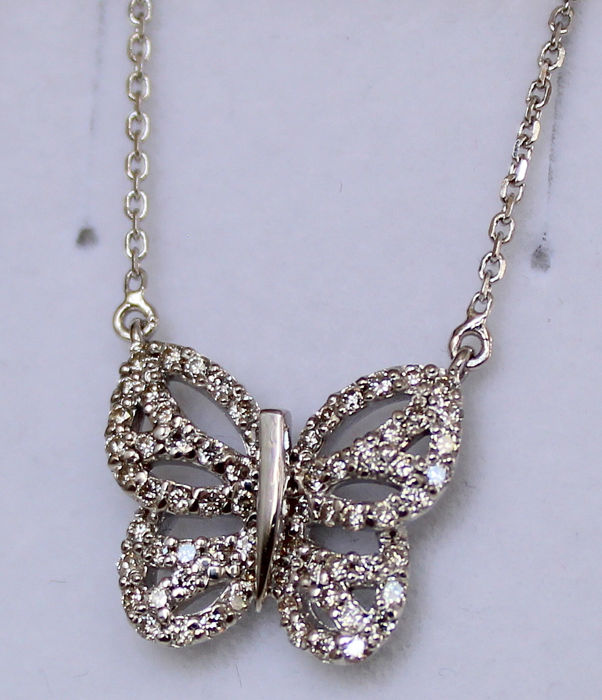 14 kt. White gold - Necklace with pendant - 0.60 ct Diamond