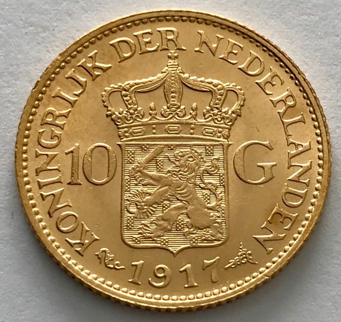 The Netherlands - 10 Gulden 1917 - Wilhelmina - Gold